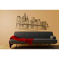 Декоративный стикер наклейка для интерьера дома  Red The Brooklyn bridge 96х50 см Черная