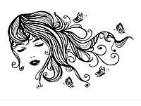 Декоративный стикер наклейка для интерьера дома Red Beautiful girl with butterflies 120х75 см Черная