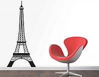 Декоративный стикер наклейка для интерьера дома  Red The Eiffel tower 50х120 см Черная
