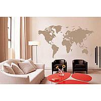 Оригинальная наклейка стикер для декора комнаты Red World map 2 96х55 см Коричневая