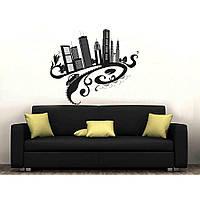 Оригинальная наклейка стикер для декора комнаты Red City 1 96х80 см Черная