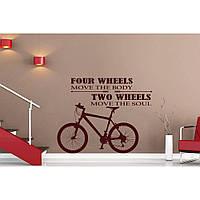 Дизайнерская наклейка стикер на стену, плитку, обои, мебель Red Two Wheels 70х70 см Коричневая