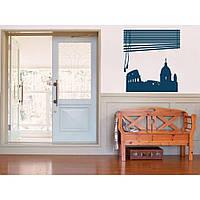 Дизайнерская наклейка стикер на стену, плитку, обои, мебель Red Window in Rome 90х96 см Синяя