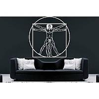 Дизайнерская наклейка стикер на стену, плитку, обои, мебель Red Leonardo da Vinci 75х75 см Белая