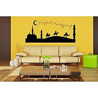 Дизайнерская наклейка стикер на стену, плитку, обои, мебель Red Desert 96х45 см Черная