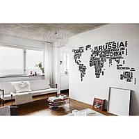 Дизайнерская наклейка стикер на стену, плитку, обои, мебель Red World in words 195х96 см Черная