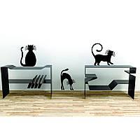 Стильная наклейка стикер для оформления спальни, гостиной, зала Red Black cats 96х50 см Черная