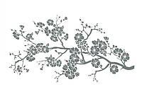 Стильная наклейка стикер для оформления спальни, гостиной, зала Red Sakura 1 96х50 см Серая