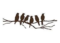 Стильная наклейка стикер для оформления спальни, гостиной, зала Red Birds on a branch 96х30 см Коричневая