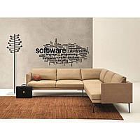 Декоративная наклейка стикер в спальню, прихожую, зал, кухню Red Software 96х50 см Черная