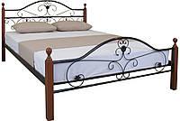 Кровать с кованой спинкой на деревянных опорах двуспальная Патриция Вуд , фото 1