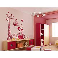Красивая наклейка в интерьер кухни, прихожей, зала Red Children 50х60 см Розовая