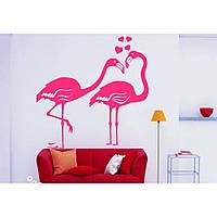 Красивая наклейка в интерьер кухни, прихожей, зала Red Flamingo 1 50х50 см Розовая