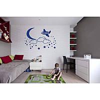 Красивая наклейка в интерьер кухни, прихожей, зала Red Airplane 96х65 см Синяя