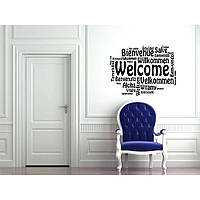 Красивая наклейка в интерьер кухни, прихожей, зала Red Welcome 1 96х70 см Черная