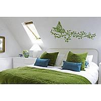 Красивая наклейка в интерьер кухни, прихожей, зала Red Butterfly 96х45 см Зеленая