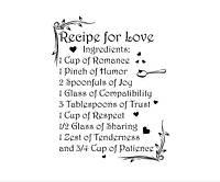 Красивая наклейка в интерьер кухни, прихожей, зала Red Recipe for love 1 75х96 см Черная