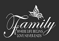 Красивая наклейка в интерьер кухни, прихожей, зала Red Family love 96х60 см Белая