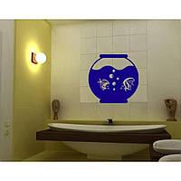 Красивая наклейка в интерьер кухни, прихожей, зала Red Aquarium 50х50 см Синяя
