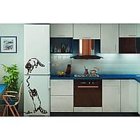 Красивая наклейка в интерьер кухни, прихожей, зала Red Raccoons 45х96 см Коричневая