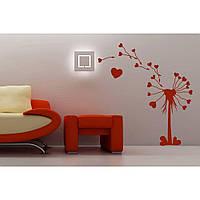 Красивая наклейка в интерьер кухни, прихожей, зала Red Dandelion 1 60х65 см Красная