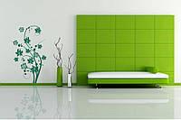 Красивая наклейка в интерьер кухни, прихожей, зала Red Beauty flowers 60х96 см Зеленая