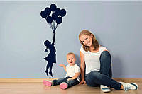 Красивая наклейка в интерьер кухни, прихожей, зала Red Little girl 35х96 см Синяя