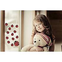 Красивая наклейка в интерьер кухни, прихожей, зала Red Ladybug 85х20 см Красная