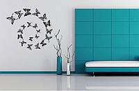 Красивая наклейка в интерьер кухни, прихожей, зала Red Butterflies 1 96х85 см Черная