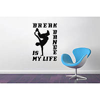 Красивая наклейка в интерьер кухни, прихожей, зала Red Breakdance 65х96 см Черная