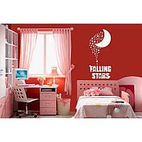 Красивая наклейка в интерьер кухни, прихожей, зала Red Falling stars 50х96 см Белая
