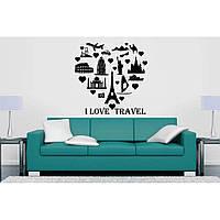 Красивая наклейка в интерьер кухни, прихожей, зала Red Love travel 70х70 см Черная