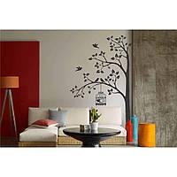 Красивая наклейка в интерьер кухни, прихожей, зала Red Tree with a cage 60х96 см Серая