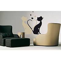 Красивая наклейка в интерьер кухни, прихожей, зала Red Cat love 50х55 см Черная