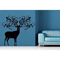 Красивая наклейка в интерьер кухни, прихожей, зала Red Deer 80х75 см Черная