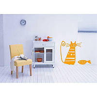 Красивая наклейка в интерьер кухни, прихожей, зала Red Kitty 70х50 см Оранжевая