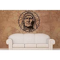 Красивая наклейка в интерьер кухни, прихожей, зала Red Indian 60х60 см Черная