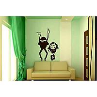 Красивая наклейка в интерьер кухни, прихожей, зала Red Dancers 40х60 см Черная