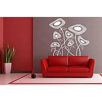 Красивая наклейка в интерьер кухни, прихожей, зала Red Cosmic flowers 55х50 см Белая