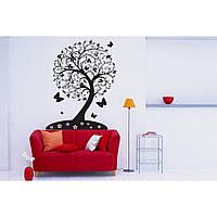 Красивая наклейка в интерьер кухни, прихожей, зала Red Cafe 96х130 см Черная