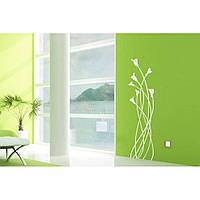 Водостойкая наклейка стикер для кафельной плитки, кухонной мебели, обоев, стен Red Callas 25х96 см Белая