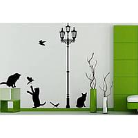 Водостойкая наклейка стикер для кафельной плитки, кухонной мебели, обоев, стен Red Kitty 1 40х120 см Черная