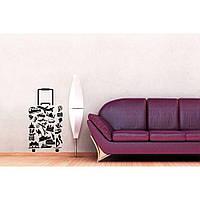 Водостойкая наклейка стикер для кафельной плитки, кухонной мебели, обоев, стен Red Travel with us 50х96 см Черная