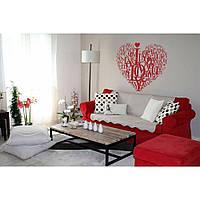 Водостойкая наклейка стикер для кафельной плитки, кухонной мебели, обоев, стен Red My heart 96х85 см Красная