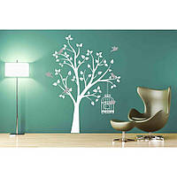 Водостойкая наклейка стикер для кафельной плитки, кухонной мебели, обоев, стен Red Wood cage 65х96 см Белая