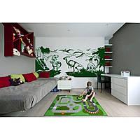 Водостойкая наклейка стикер для кафельной плитки, кухонной мебели, обоев, стен Red Dinosaurs 205х96 см Зеленая
