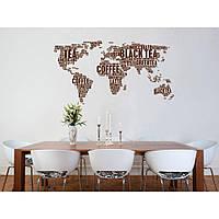 Водостойкая наклейка стикер для кафельной плитки, кухонной мебели, обоев, стен Red Coffee card 180х96 см Коричневая