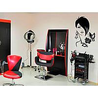 Водостойкая наклейка стикер для кафельной плитки, кухонной мебели, обоев, стен Red Cute girl 65х96 см Черная