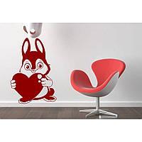 Водостойкая наклейка стикер для кафельной плитки, кухонной мебели, обоев, стен Red Rabbit love 40х60 см Красная
