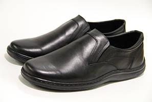 Мужские туфли из натуральной черной кожи 016 20